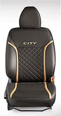 Honda-City-Seat Cover PVC Black w/fabric Cross Stitch