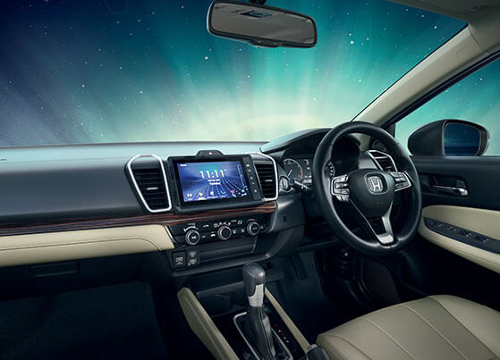 New Honda City 2020 Interior - Sophisticated & High Quality Dashboard with Real Stitch Soft Pad & Glossy Dark Wood Garnish