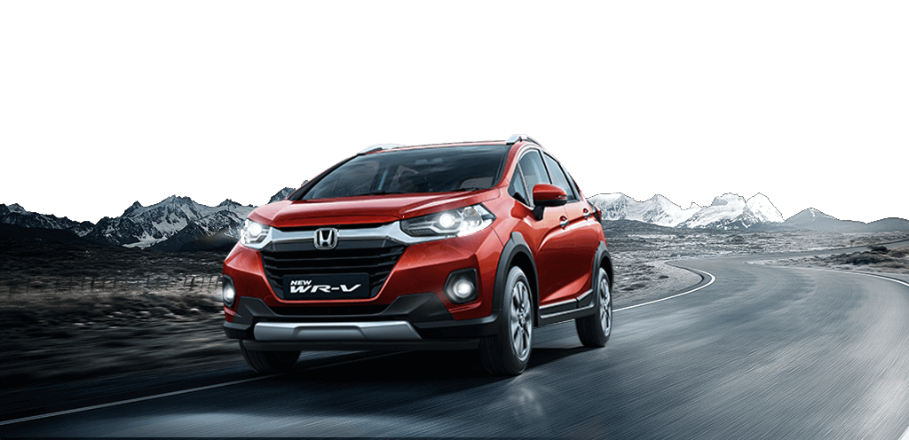 New Red Colour Honda WRV car on road with Mountains in Background