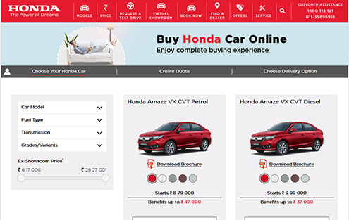 Buy a New Honda Car Online from Laptop Device