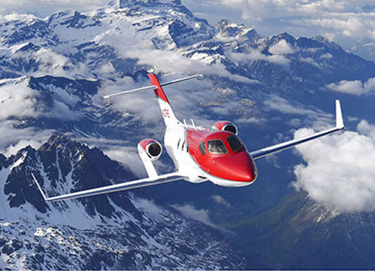 Front View of Flying Red Hondajet