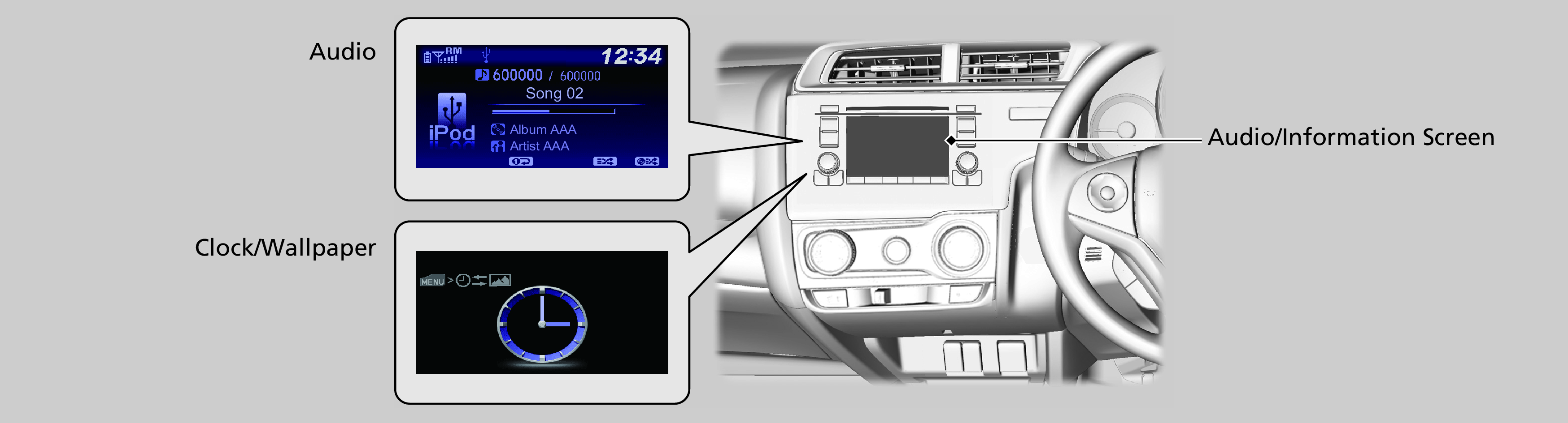 Audio/Information Screen(Models with colour audio system